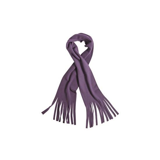 Fleece sjaal met franjes paars