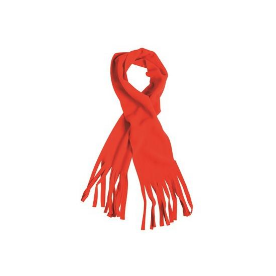 Fleece sjaal met franjes rood