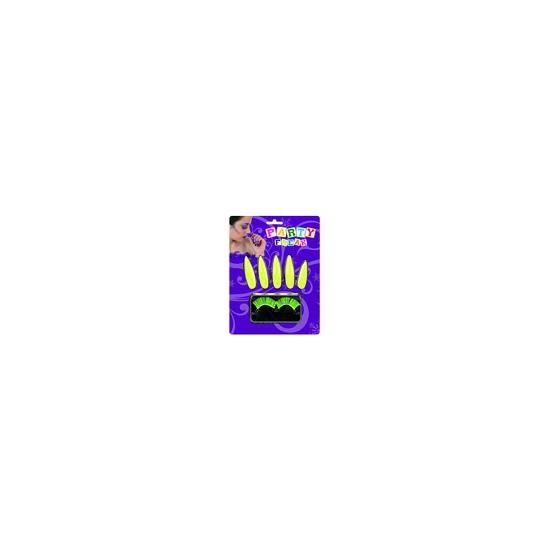 Fluor gele nagels en wimper set