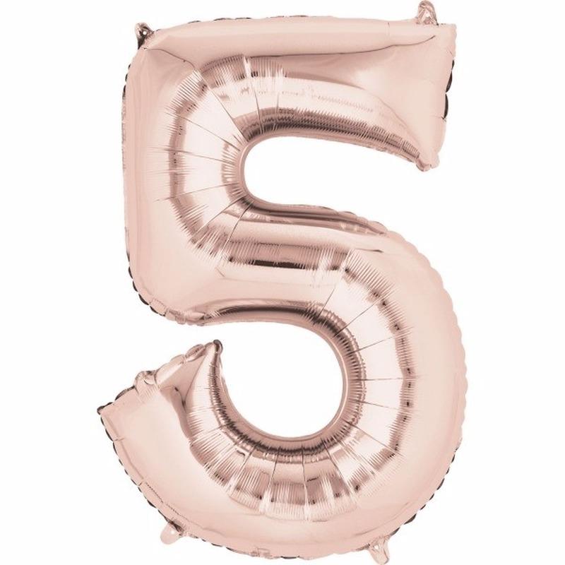 Folie ballon cijfer 5 rose goud