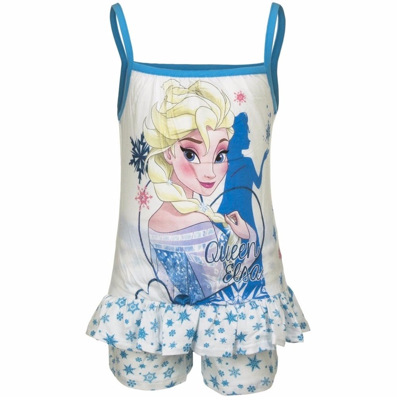 Frozen korte pyjama wit/blauw voor meisjes