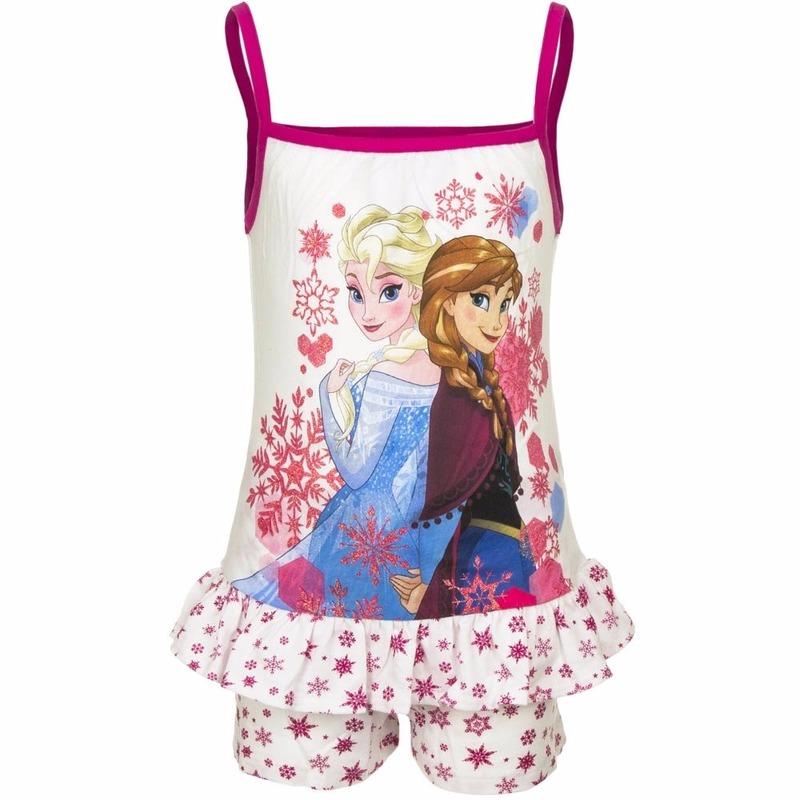 Frozen korte pyjama wit/roze voor meisjes