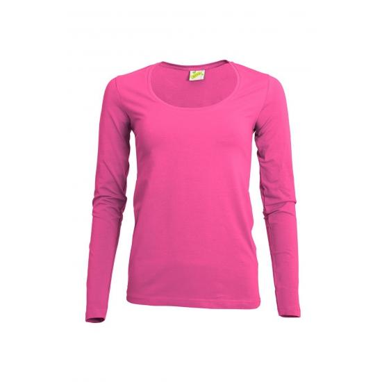 Fuchsia damesshirt lange mouw