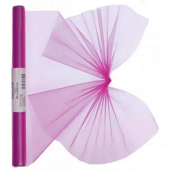 Fuchsia roze organza stof op rol 40 x 200 cm
