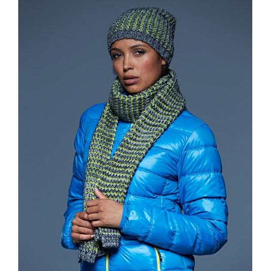 Gebreide sjaal grijs/geel