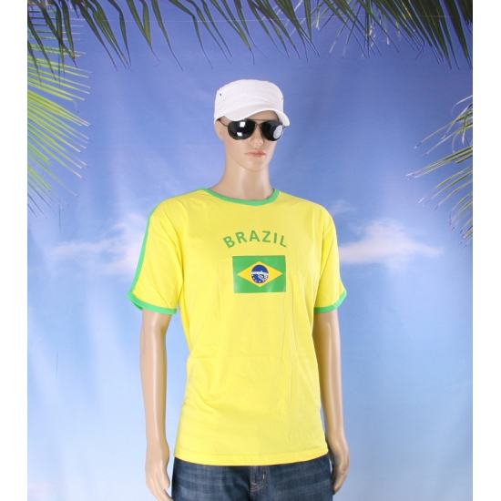 Geel groen shirt brazilie heren