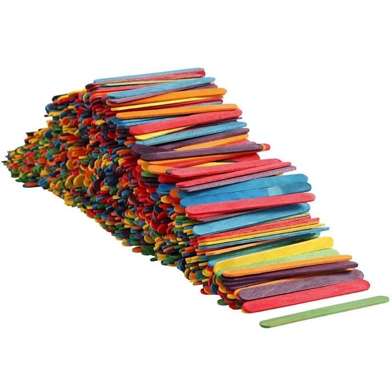 Gekleurde ijsstokjes knutselhoutjes 1000 stuks