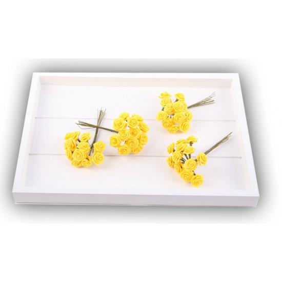 Gele rozen van satijn 12 cm