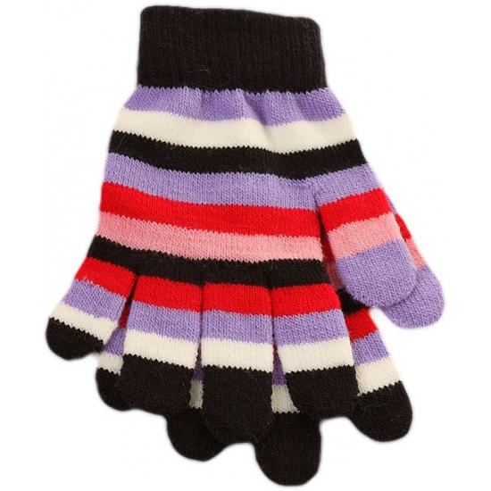 Gestreepte meiden handschoenen zwart