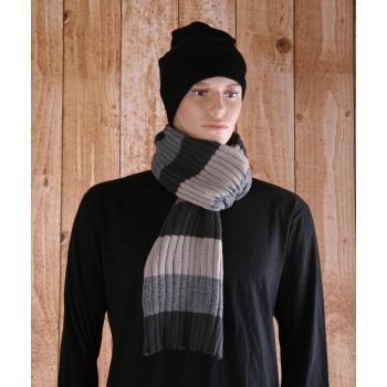 Unisex sjaal gestreept grijs beige