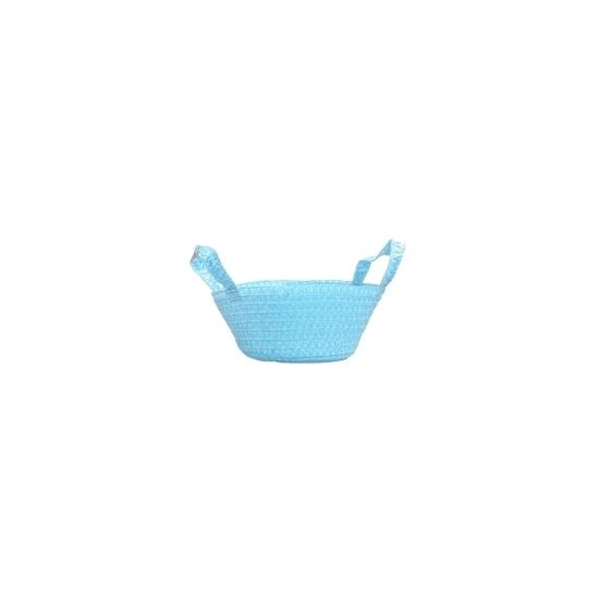 Gevlochten mandje blauw 24 cm