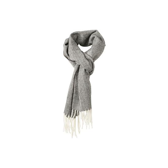 Geweven visgraat sjaal antraciet