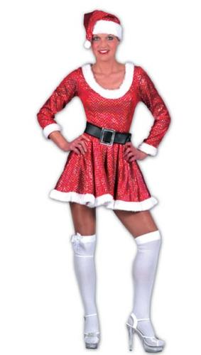 Glitter kerst jurk met riem en muts