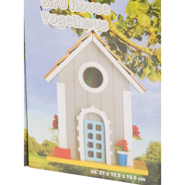 Grijze houten vogelhuizen 15 x 20 cm