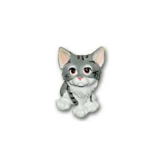 Grijze kat zittend van polystone 13 cm