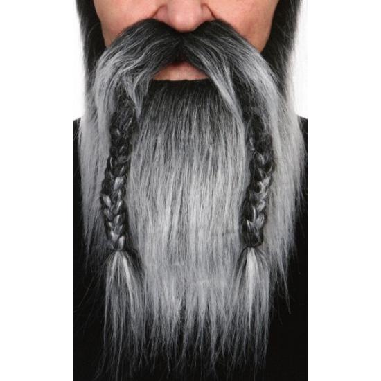 Grijze vikingen baard met vlechten