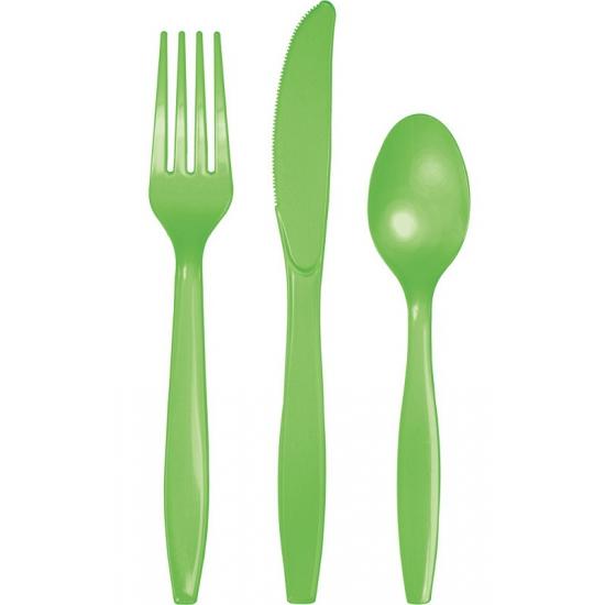 Party bestek groen kleurig