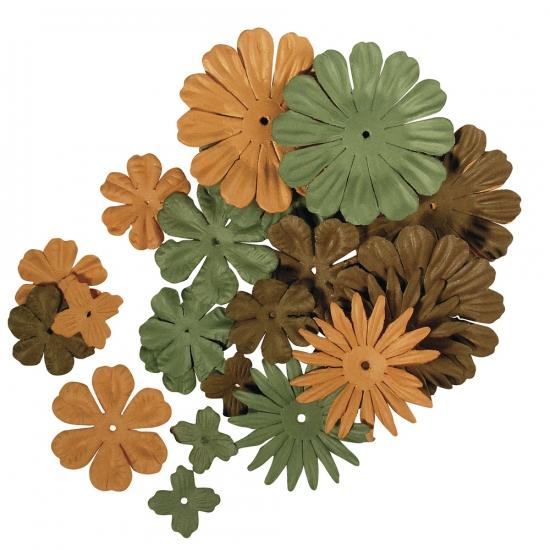 Groene en bruine knutsel bloemen van papier