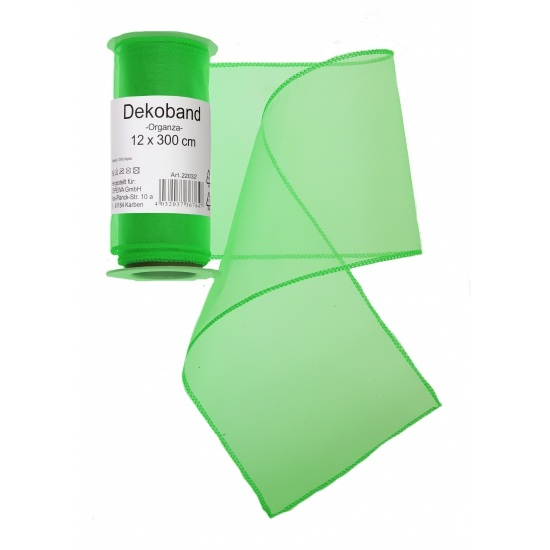 Groene organza strook 12 x 300 cm