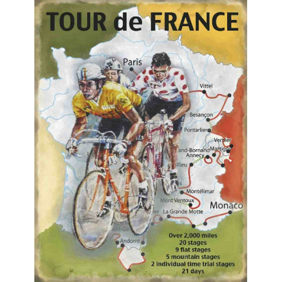Grote muurplaat Tour de France route 30x40cm