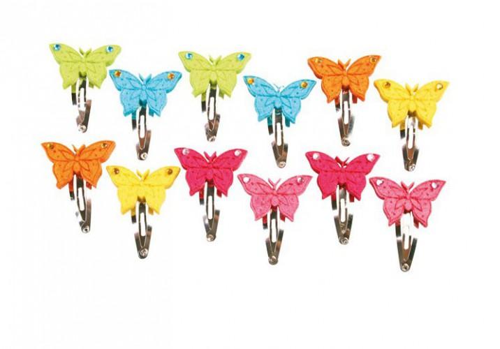 Haarclips met vlinder van vilt