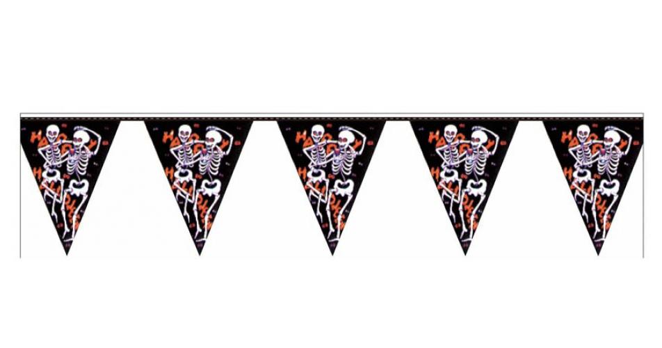 Halloween Horror vlaggenlijn met skeletten 3.6 meter