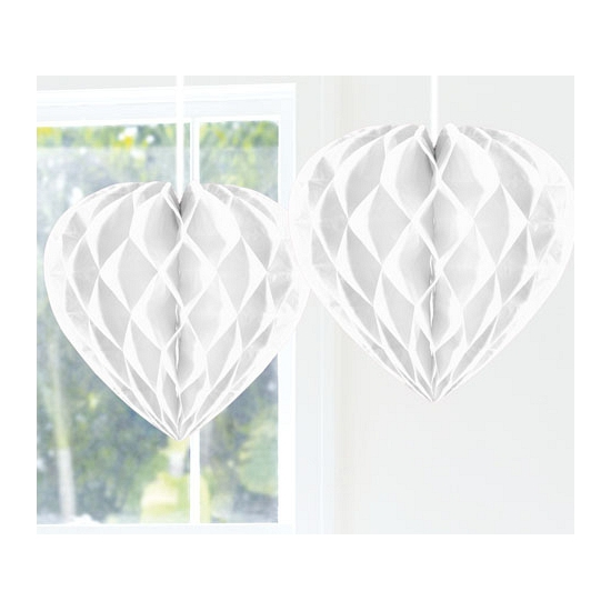 Hangdecoratie hart wit 30 cm