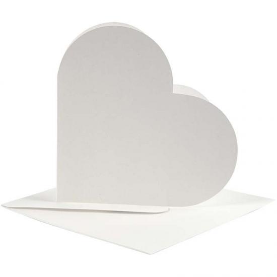 Hartjes kaarten wit met enveloppen
