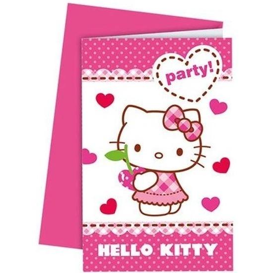 Verjaardag uitnodigingen hello kitty karton