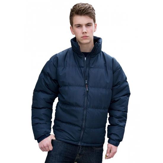 Heren jas met kraag donkerblauw