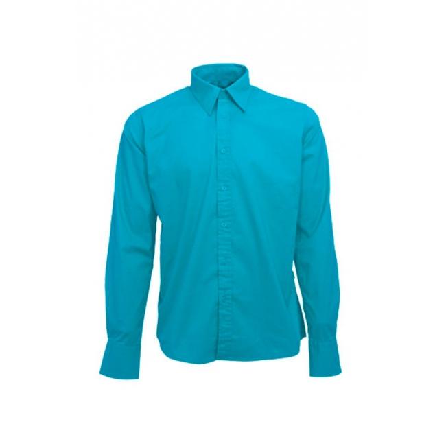 Heren overhemd turkoois lange mouw