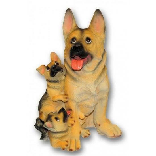 Honden beeldjes zittende Duitse Herder met puppies
