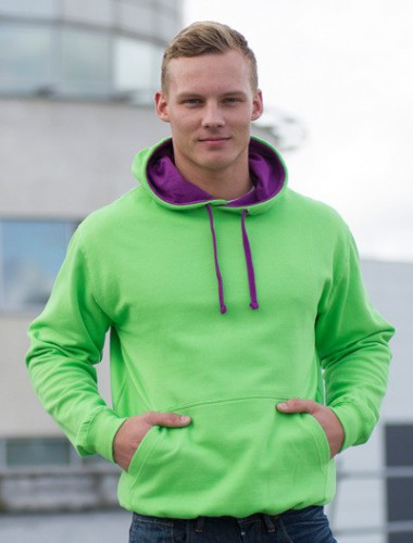 Hooded sweater lime met paars