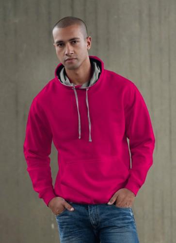Hooded sweater roze met grijs
