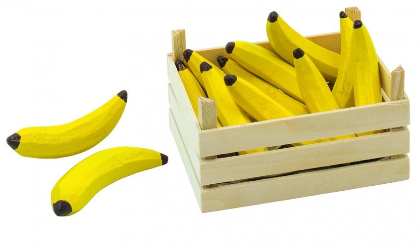 Houten bananen in kist