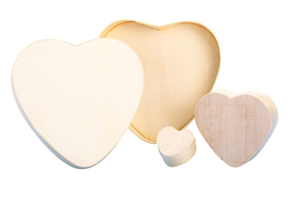 Houten beschilderbaar harten doosje 21 cm
