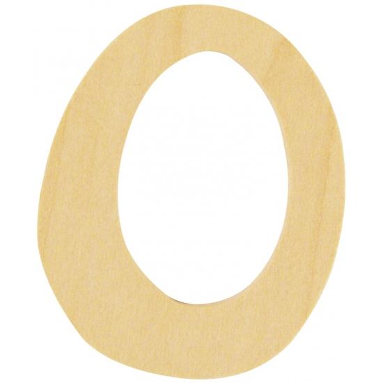 Houten getallen 0 van 6 cm