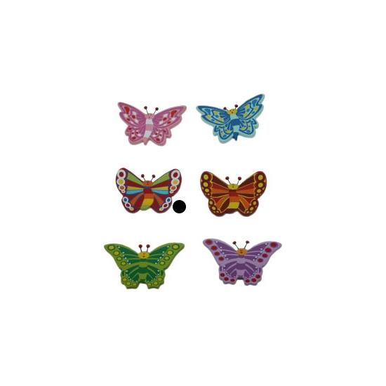 Houten vlinder magneet rood