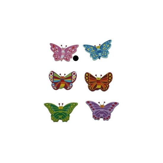Houten vlinder magneet roze