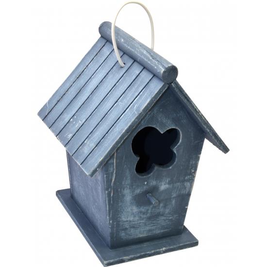 Houten vogelhuisje blauw 24 cm