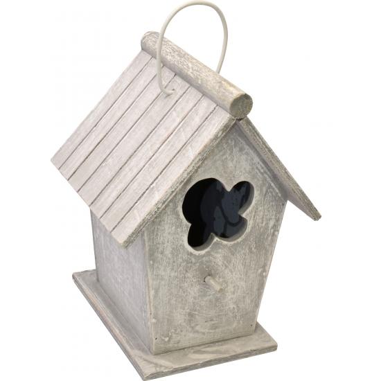 Houten vogelhuizen lichtgrijs 24 cm