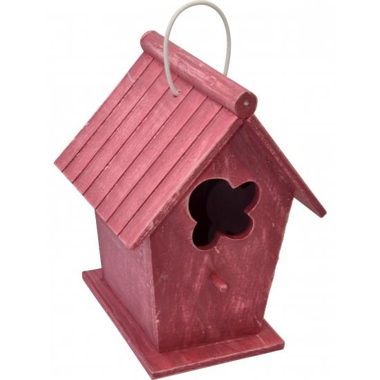 Houten vogelhuizen rood 24 cm