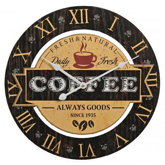 Houten wandklok koffie zwart 40 cm