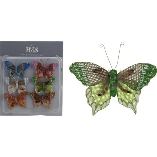 Jute vlinder clips set van 6 stuks