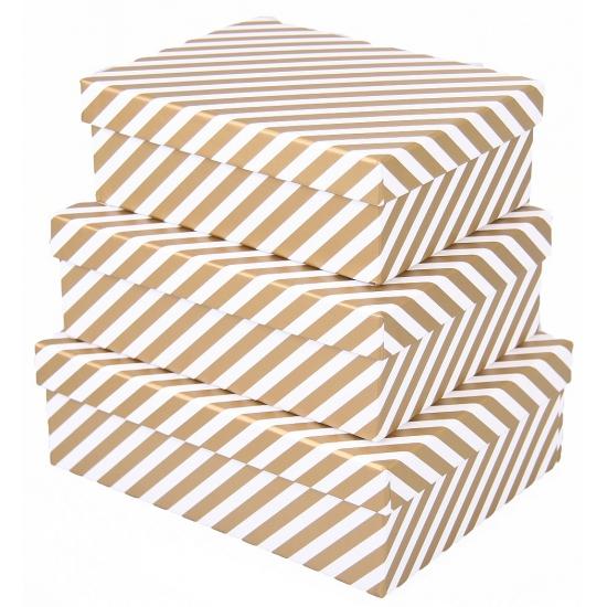Kado doosje streep goud 22 cm