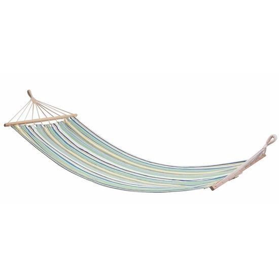 Katoenen hangmat groen met gekleurde strepen 80 x 280 cm