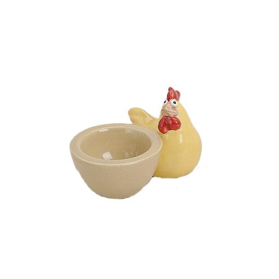 Keramiek aardekleur eierdopje met gele kip 9 cm