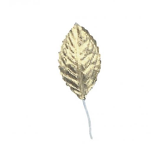 Kerststukje versiering gouden bladen 12x