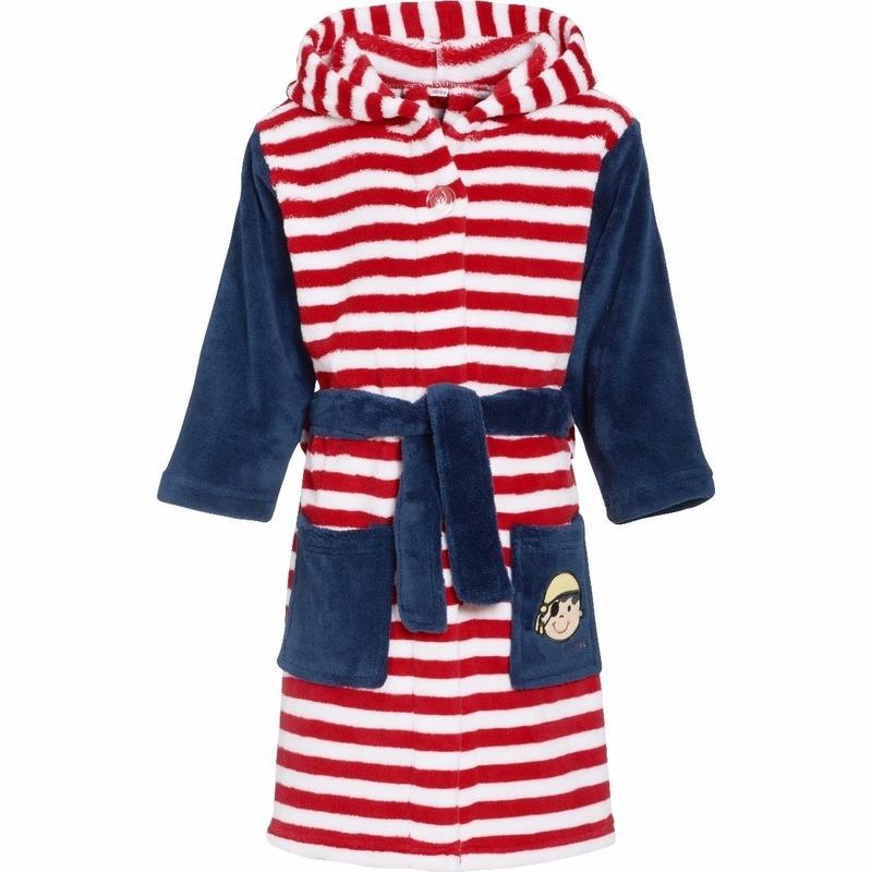 Kinder badjas rood/wit gestreept