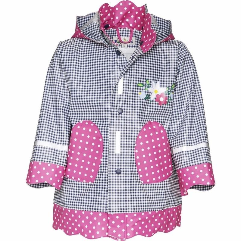 Kinder regenjas navy/roze design